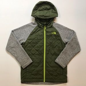 The North Face hooded jacket green and grey 10-12